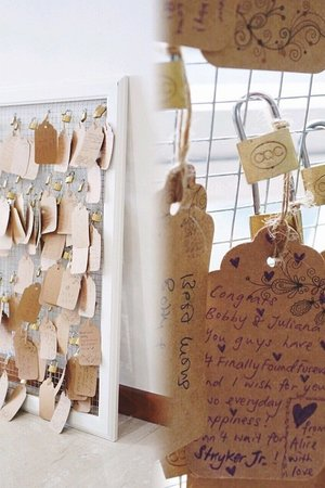 Our 'Pont des Arts' Wedding Guest Book! By placing a lock on the famous love bridge together, couples immortalize their love for one another.  On our guestbook, our guests too can express their blessing and love for us by writing a special message and attaching it to our frame with a love lock.