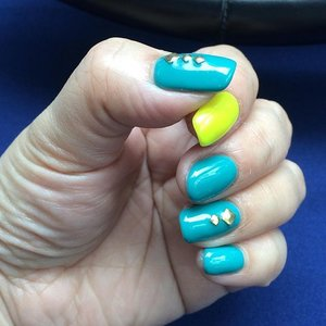 Something colorful and simple this month... #manicure #gelpolish #beauty #clozette #oddcolors #colorfulnail