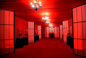 Wedding Themes: Graphic black and red entrance to marquee. If you want your wedding look like a royal wedding with an exquisite theme, follow us on http://www.grconcept.com/weddings/ & we will plan your wedding the way you want to.