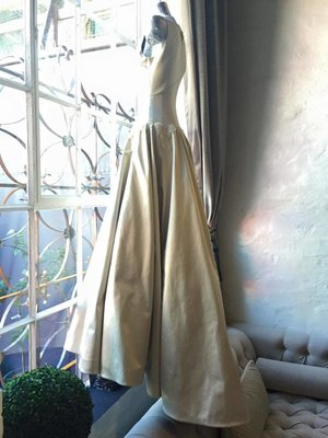 Floating satin duchess gown in the window today #regal #gavinrajah #wedding