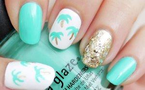Easy Palm Tree Nail Art - YouTube