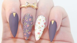 HOW TO: Matte Dark Floral Acrylic Nails - Dazzle Glam Nails | YouTube