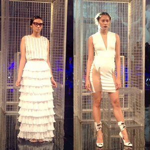 It's a cagey afternoon here at #MNLFashionFest. My personal faves by Esme Palaganas (left) and Tony Evans (right). #Clozette #ClozetteEvents #GlamAsia