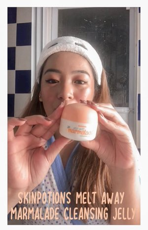 🍊 This cleansing jelly removes makeup, excess oil and dirt while keeping your skin moisturized. It has no paraben, alcohol, sulfate, petroleum, mineral oil & phosphate. It is cruelty free & safe for all skin types.  Watch the video to see how it easily removes my most waterproof makeup. 🧡 @skinpotions #meltawaywithskinpotions