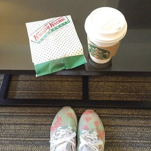 It's ok to be unhealthy sometimes right? 😁 // @liketoknow.it www.liketk.it/1BoyH #liketkit #adidas #sneakers #starbucks #krispykreme #casual #ootd #outfit #fashion #clozette #food