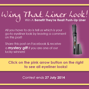 LISTEN UP GIRLS! We are giving away the BENEFIT THEY'RE REAL! PUSH-UP LINERS this month! Want one? Just leave a comment on this post telling us what is your go-to eyeliner look! Also, receive a mystery gift if you share this post on Facebook!
