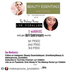 #Repost @makeupnurse_lynvidallon with @repostapp ・・・ I think I have been a good girl. I strive to meet school deadlines, sleep late nights I do household chores and everything. Therefore, I think I deserve some new pampering treats. I believe every girl deserves a little pampering and if no one is going to do it for us, then I am  just going to have to pamper myself with Ms. Eren's lovely products if ever I win. After all, when I spend all day working, running around, and taking care of others, it's hard to just slow down. And all I am going to think is how rewarding those things are. Still, it would be better if I get some things to indulge myself after tiresome work of days. 😊.#BeautyessentialsbyEMxLynVidallon  #giveawayph #beautyessentialsbyerenmckay #giveaway #makeupgiveaway #clozette