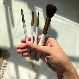 My first ever set of makeup brushes, from @forever21_in . It's missing the eyebrow brush that BROKE. (Is ok tbh I don't really recommend these lol. The miniso ones are better).