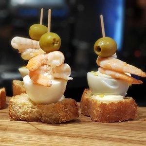 Pintxos, one-bite delicious morsels of Basque Country in northern Spain.  #clozette #foodspotting #iweeklyfood #fooddaddict #foodgasm #foodpic #sginsta #sgeats #foodshare #nomnom #igersgs #foodporn #yummy #foodsg #burpple #sgfood #sgfoodbloggers #sgfoodies #igsgfoodies #pintxos #sansebastian #spanishfood #prawns