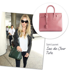 Rosie Huntington Whiteley with the Saint Laurent Sac de Jour Tote