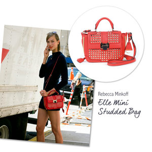 Karlie Kloss with the Rebecca Minkoff Elle Mini Studded Bag