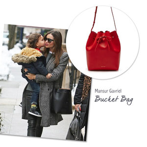 Miranda Kerr with the Mansur Gavriel Bucket Bag