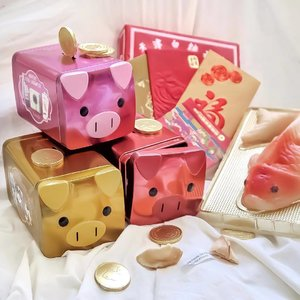 Starting of the lunar new year with 年糕, 紅包, and my three little piggy banks 🤣 🐽  First splurge of the year on these @benefitph Pig Pig Hooray sets to get one for me, my sister, and my mom 🤣 🐽  swipe to see what's inside each of the sets 👀  #CNY2019 #Lunarnewyear #clozette #YearofthePig #pink #BenefitPH #PigPigHooray #tikoy #angpao #cny