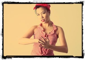 Red Scarf , Red Gingham Pin-up