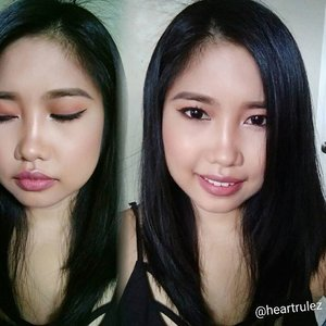 Yesterday's #motd, a bit different with the contact lens hahaha.. Face; mix of MUFE ultra hd foundation and holika holika bb cream.  #thefaceshop  eyepencil #makeupgeek eyeshadow  #macfluideyeliner  #pinkiescollection  lipstick in bark #sleekcontour and highlight from @lasexyph  #clozette