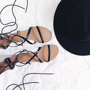 Heading to an event & wearing my fave lace up sandals from @mdscollections #clozette #flatlay