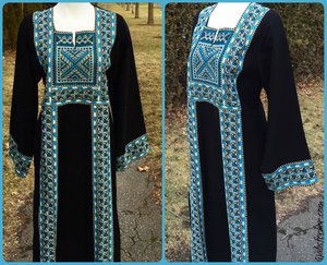 HFH Traditional  Palestinian Abaya with embroidery  — the ultimate in Islamic fashion.  Our Modern or traditional abayas will have you feeling like a queen in our range of soft, quality fabrics.