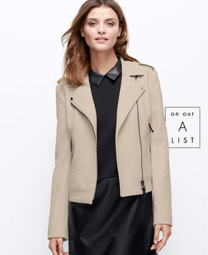 Was looking around online for outerwear, since fall is upon us and winter is soon to be arriving. Found this crisp motor jacket from Ann Taylor, which now also ships to Singapore. The colour is perfect against the vibrance of the auburn leaves, and the sleek cut goes well with most other shapes of outfits. You can get it or see it up close here: http://bit.ly/1re4enxYour personal stylist,Roxanne