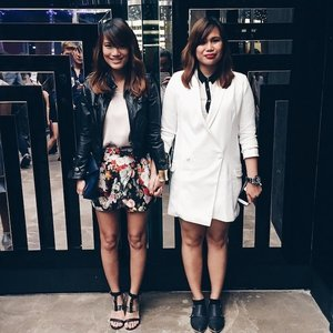 Twin #OOTD with my long-time blog friend Aisa. I was wearing another blazer dress (in white) in a night-out. :)