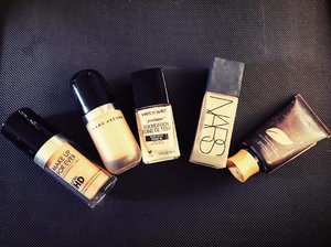 MY GO TO FOUNDATIONS! -- up on my blog page. Https://onehappykath.blogspot.com  #makeupaddict #makeupjunkie #makeupforeverhdfoundation #marcjacobsremarcable #narsalldayluminousweightlessfoundation #wetnwildphotofocus #tarteamazonianclayfoundation #foundationjunkie #allaboutthebase #instamakeup #makeupmafia #makeuplover #bblogger #clozette #clozettedaily