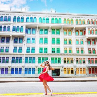 Found myself a rainbow building to brighten up the day. Do you agreed that this is the most colourful building in Singapore?  . But inside this building has a dark and sad history. This used to be an old Police Station and it was used by the Kempeitai (a.k.a Military Police of the Japanese Army) during the Japanese Occupation. It was said that prisoners were held there and tortured there. Some never came out alive. Rumours said that this building is haunted!!👻 Do you believe in ghost? . By the way, did you noticed that I am on the full-day bus lane? Full day bus lanes are marked with both yellow and red lines. Motorists who drive on bus lanes during restricted hours may be fined up to S$1000 or serve 3 months of imprisonment. Oh my goodness, please don't put me into jail, this is just for my instagram post. .   