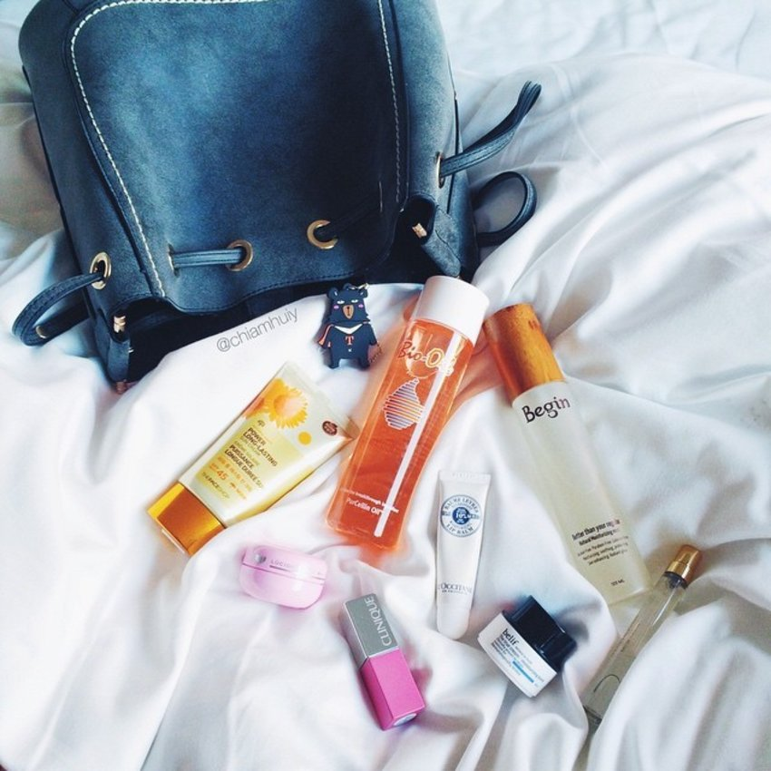 My #travelessentials every time I go overseas: #thefaceshopsg SPF45 Sun Cream  Lucido-L Hair Wax  Begin Face Mist  #Beliefsg Moisturizing Bomb #CliniqueSG New Lip Pop  #Loccitane Lip Balm  Multi-purpose oil like #biooilsg  Annick Goutal Eau De Toilette from #escentials ** What's your travel essentials? Share with me! ☺️💕 #clozette #whatsinmybag