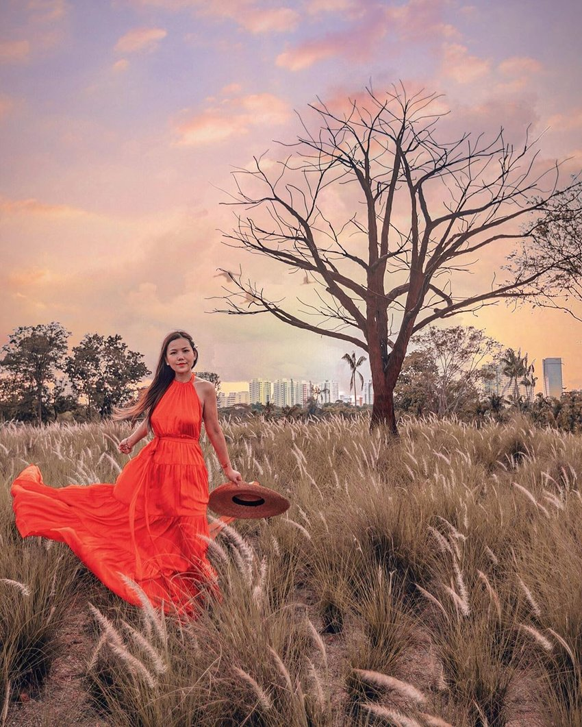 Girl in an orange dress, standing in a field