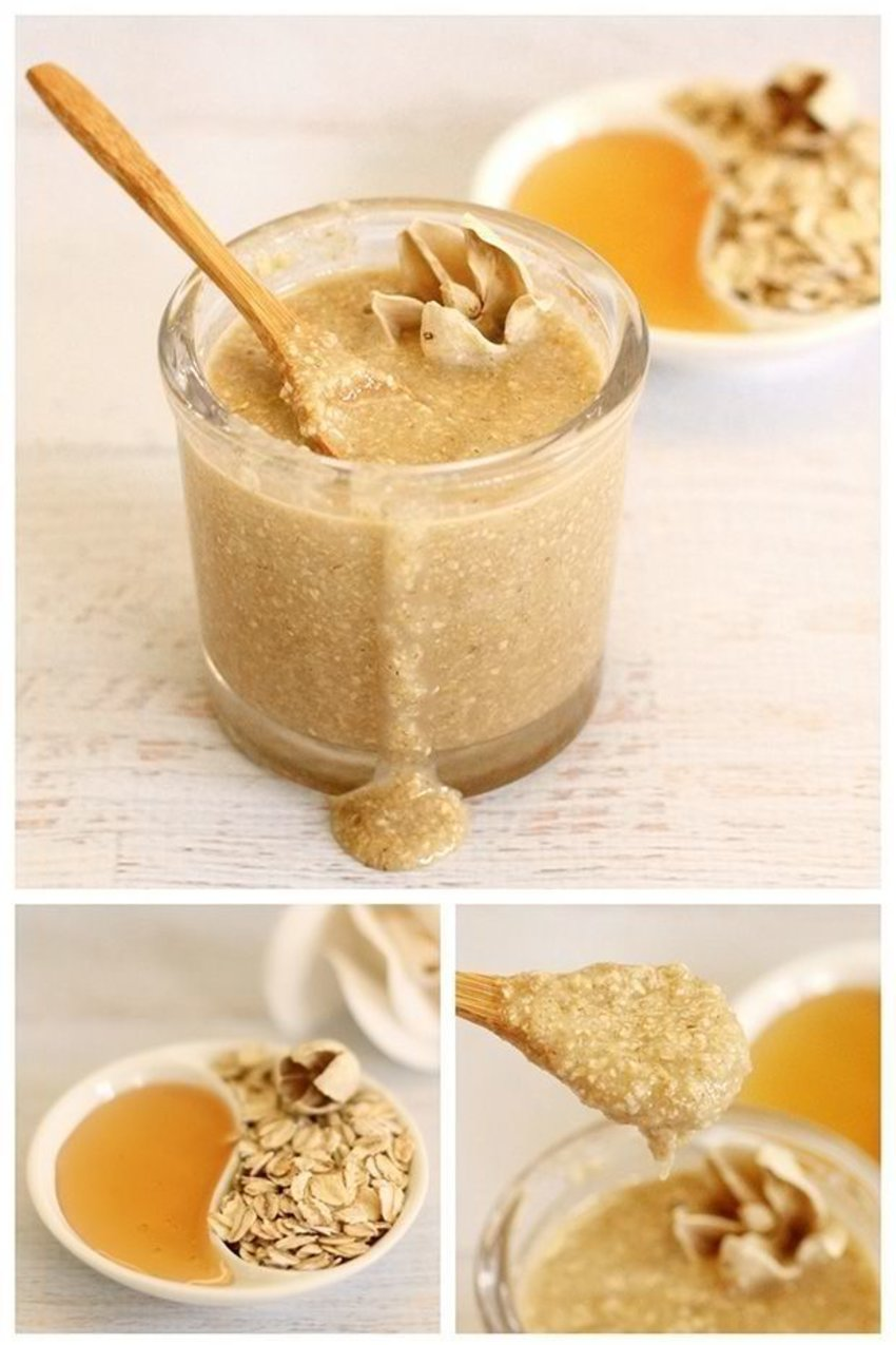 Two parts oatmeal (ground up finely in a blender or food processor)  One part honey  One part sweet almond oil (or coconut or olive oil – which ever you prefer)