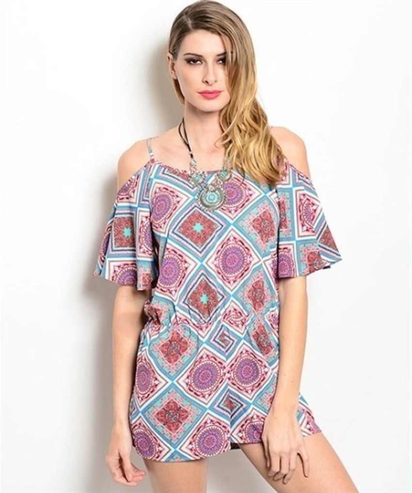Covered in pretty geometric print and finished with a voluminous cold-shoulder flutter-sleeve at each shoulder, this short-sleeved romper is made for days when you want to be the best-dressed person in the room.  •Color option: Multi •Lightweight, woven •Pull-on-style •Elastic waist romper •Cami straps with self-tie at back •Unlined •Shell:100% polyester •Approx. length is 29″ •Hand wash cold •Made in USA To learn more: