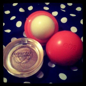 elianto bronze shimmer shadow and my eos lip balm (watermelon flavor) smells so good and very soft on my lips