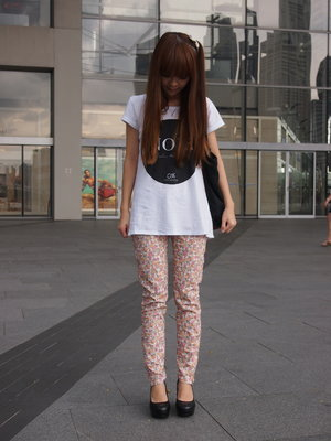 Floral Pants with White Tee