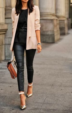 Black outfit with nude blazer and silver heels