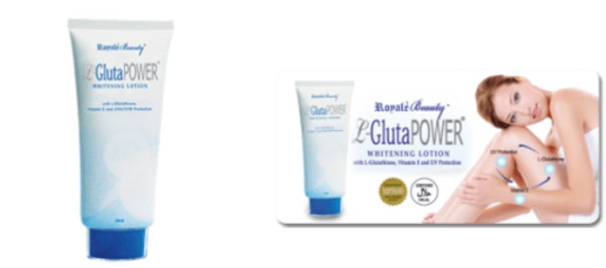 Royale L-Glutapower Whitening Lotion SGD17.05  Royale L-GlutaPower Whitening Lotion More than a regular whitening lotion, it nourishes and protects your skin from free radicals. It has a powerful master anti-oxidant agent that comes with a strong anti-ageing property for youthful vibrance, plus UVA/