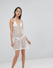Pitusa Crochet Beach Mini Sundress-White