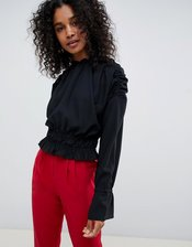 Unique 21 high neck long sleeve ruched top-Black