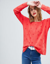 Esprit Self Polka Dot Sweater-Red