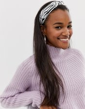 ASOS DESIGN knot front headband in zebra print-Multi