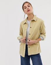 ASOS DESIGN cord shacket in washed yellow-Cream
