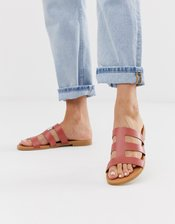 Pieces leather sandals-Red