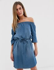 JDY denim bardot mini dress-Blue